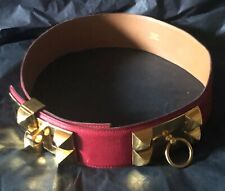 HERMES Collier de Chien Red Belt in Fine Leather/Gold Plated Hardware 24-28 inch