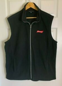 Budweiser Men's Port Authority Fleece Vest Full Zip Black Jacket Size XL