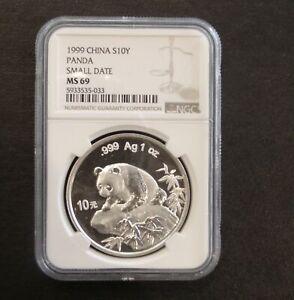 1999 China Panda 10 Yuan Small Date NGC MS69 Silver