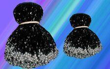 """4/"""" BLACK GLASS BEADED BELLY DANCE FRINGE 40/"""" 8/""""/& 40/"""""""