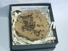 cristalloterapia GEODE AQUA AURA ORO A++ +BOX quarzo cristallo roccia minerale