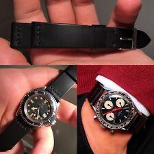 20mm black Leather & black stitches Strap bracelet cinturino vintage speedmaster