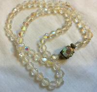 VINTAGE Rainbow Glass Aurora Borealis Short Necklace Decorative Clasp #2
