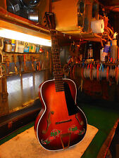 "RARE 1940's Del Oro Archtop Guitar, Stunning Graphics ""Lucky Seven Shamrock"""