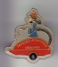 RARE PINS PIN'S .. POMPIER FIRE CASERNE POMPE LANCE CHAMPAGNE GRAUVES 51 ~DC
