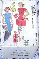 1713 SEWING PATTERN&TRANSFER~UNCUT 1952~COBBLER APRON SZ SM 10-12&POT HOLDER
