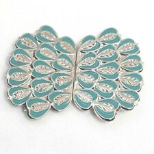 Vintage Sash Belt Buckle Clips Silver and Turquoise Blue Tone Heart Shapes