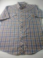 Roper Mens Western Pearl Snap Shirt Size 2XL Brown Check Short Sleeve Cotton Bld
