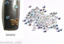 100 bijoux d'ongles DEMI BULLE blanches Irisée Blancs Cristal Nail Art 2mm