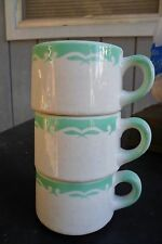 Vintage Jackson China 3 Coffee Cups Mugs (2) White / Green Kalberer