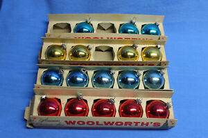 lot Vintage Woolworth's Box Shiny Brite Glass Christmas Ornaments Red/Blue/Gold