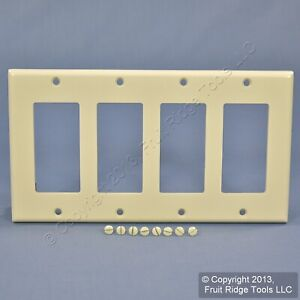 Leviton Light Almond Decora 4-Gang Thermoset Wallplate GFCI GFI Cover 80412-T
