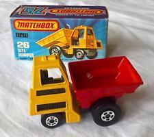 MATCHBOX SUPERFAST # 26 MK 6 SITE DUMPER YELLOW CAB RED DUMPER 5 SPOKES MINT BOX