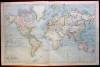 World Map 1883 Lett's SDUK map shows polar ice pack limits British Colonial