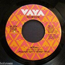 RICARDO REY & BOBBY CRUZ / SENORA / GUAGUANCO TRISTE / 45 RPM RECORD / EX+