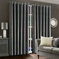 New Thick Thermal Grey Blackout Curtains Eyelet Readymade Ring Top Curtain Pair