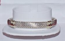 Gorgeous Designer Italian 18K Solid White Gold Basket Weave Mesh Bangle Bracelet
