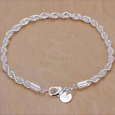 Fashion Bracelets 925 Silver Plated Twist Chain Bangle Women's Jewelry Hot D36