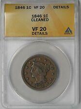 1846 Braided Hair Large Cent 1C VF 20 Details ANACS