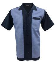 Rockabilly Fashions Mens Shirt Retro Vintage Bowling 1950 1960  Blue White Check