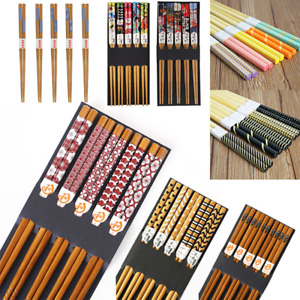 5 Pairs Bamboo Lattice Anti Slip Chopsticks Chop Reusable Japanese Sushi Sticks
