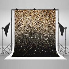 5x7ft Vinyl Party Glitter Black Gold Dots Photo Studio Backdrop Background