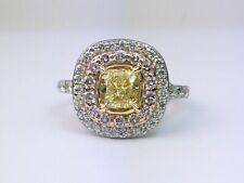 Platinum & Gold Natural Fancy Yellow & Pink Diamond Halo Engagement Ring 2.21 Ct