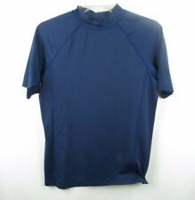 Lands End Kids Boys Navy Short Sleeve Rash Guard Swim Shirt Size 14-16 (C13)