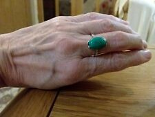 BRAND  NEW SILVER PLATED RING WITH A SMALL TURQUOISE STONE  SIZE P