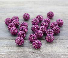 100 Pcs 10MM Rose Shamballa Beads Crystal Pave Disco Balls Fit Bracelet 6 row