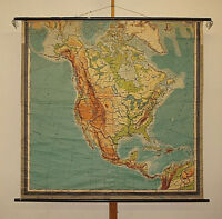 Schulwandkarte Nordamerika USA Kanada~1940 161x156 vintage old north america map
