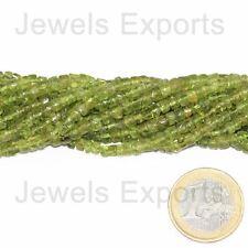"2 Strands Lot Green Peridot Smooth Loose Tyre Wheel Gemstone Craft Beads 14"" 4mm"
