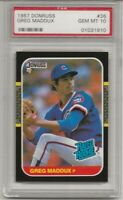 1987 DONRUSS #36 GREG MADDUX, PSA 10 GEM MINT , ROOKIE, RC, HOF, CHICAGO CUBS!