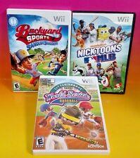 Nicktoons MLB, Backyard Sandlot, Little League Series Nintendo Wii Wii U 3 Games
