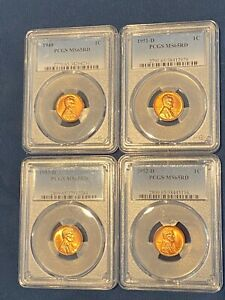 1949 1951 D 1952 D 1953 D LINCOLN WHEAT CENT PCGS MS 65 RD RED LUSTER 4 COINS