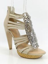 L.A.M.B. Leather Silver Coin Strappy Platform Heels 8.5 MSRP $350.00