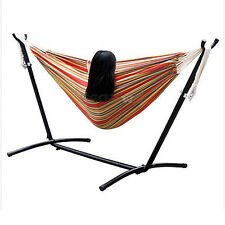 Portable Double Hammock Outdoor Space Saving Steel Stand Carrying Case Garden