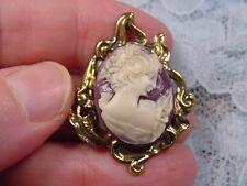 (CS91-6) Small Woman purple + ivory oval CAMEO scrolled brass Brooch pin Pendant