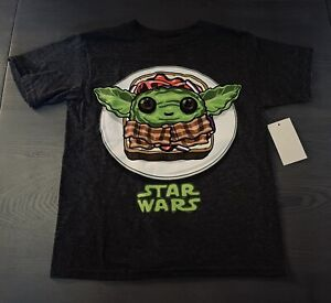 Baby Yoda Sandwich   Boy's Size: XS 4/5 T-Shirt   Official Disney Star Wars