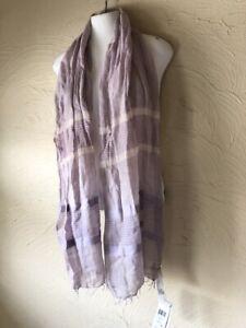 $118 EILEEN FISHER Malow Purple Striped Fringe SCARF Cotton Lightweight Wrap