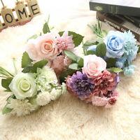 Artificial Silk Flower Fake Rose&Dahlia&Chrysanthemum Bouquet Wedding Home Decor