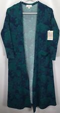 New LuLaRoe Sarah Cardigan XS Green Blue Roses Floral Robe UNICORN Extra Small