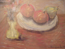 "FRANK CAMPANELLA (AMER 1918-2016) ""STILLIFE FRUIT"" PASTEL GOLD FRAME 2000 LISTED"