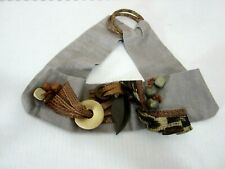 Vtg 80's Fashion Belt Gray Linen Beaded Animal Print Slide Buckle
