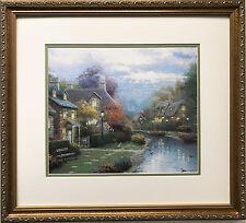 "Thomas Kinkade ""Lamplight Brook"" Newly CUSTOM FRAMED Art Print PAINTER OF LIGHT"