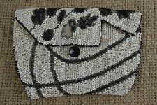VINTAGE 1920s black and white beaded evening bag clutch purse floral flapper