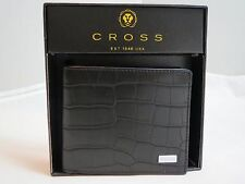 Authentic CROSS Coco Signature BLACK Slim Croc Leather BIFOLD Wallet AC268121B-1
