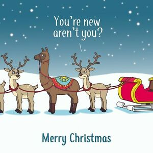 Merry Christmas Card with Llama Imposter - Xmas Card -Funny Christmas Card