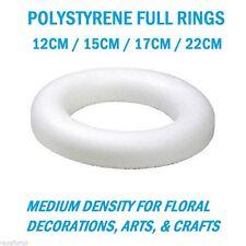 POLYSTYRENE FULL RINGS 12CM / 15CM / 17CM / 22CM FOR WREATHS & FLORAL DECORATION
