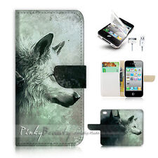 ( For iPhone 4 / 4S ) Flip Case Cover! P0793 Wolf